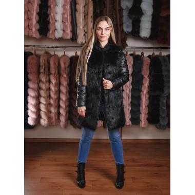 Куртка с меха нутрии со съемными рукавами