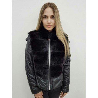 Куртка черного цвета с мехом ондатры со съемными рукавами